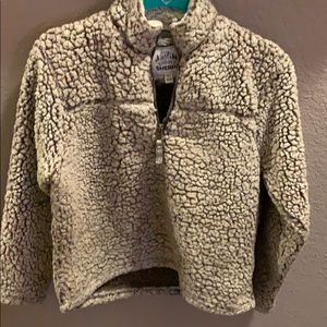 Girls 14/16 fleece tan Sherpa pullover with zipper